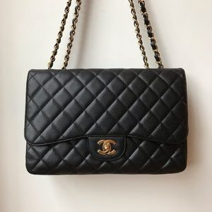 Chanel classic single flap jumbo in caviar